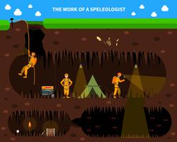Speleologists Cave Exploration Flat Background Banner