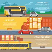 Transporte para a cidade e banners de viagens