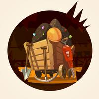 Bergbau-Karikaturillustration