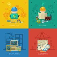 Ingeniero Flat Icons Composition Square