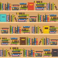 Ilustración de estanterías de libros