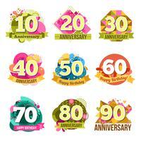 Conjunto de emblemas de aniversario plana