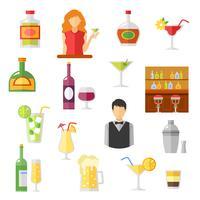 Coleção de ícones plana de bar