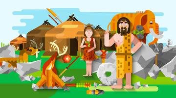 Prehistoric Stone Age Caveman Composition