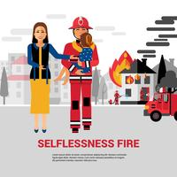 Firefighter Rescuing Child Vector Illustration