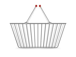Metallic Shopping Basket Empty Realistic Pictogram