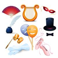 Theatre Background Flat Icons Set