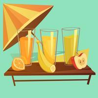Conjunto de desenhos animados de bebidas saudáveis
