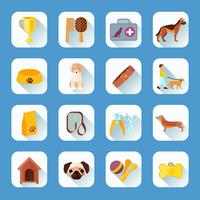 Flat icons set dog slant shadow
