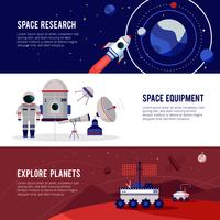 Space Research Flat Horizontal Banners Set