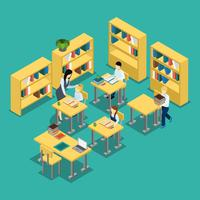 Education Middle School Classroom Isometric Banner  vector