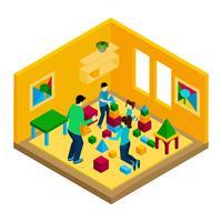 Familia jugando ilustración