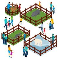 Zoo Outdoor Enclosures Visitors Isometric Banner