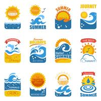 Summer Label Set With Wave And Sun