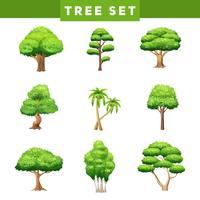 Set di icone piane di corone di albero