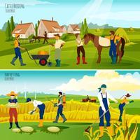 Agricultura rural 2 composição plana Banners