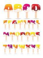 Bandera plana del alfabeto del derretimiento del helado