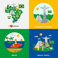 Cultura brasileña 4 iconos planos cuadrados