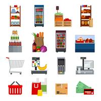 Ensemble d'icônes plat décoratif de supermarché