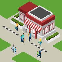 Edificio de tiendas y ilustración de clientes