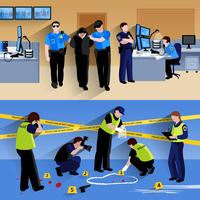 Working Policeman People  Horizontal Banners Compositions vector