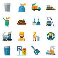 Iconos de colores de reciclaje de basura