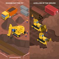 Construction Machinery Isometric Vertical Banners Set  vector