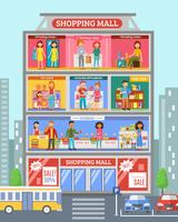 Shopping Center Desingn Flat Banner vector