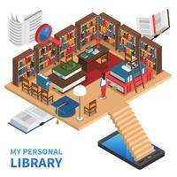 Personal Library Concept Illustration  vector