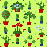 Floral Flat Plants Icons Seamless Pattern