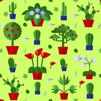 Blommiga Planta Växter Ikoner Seamless Pattern