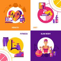 conjunto de concepto de diseño de fitness 2x2
