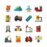 Conjunto de ícones plana de produção de indústria de energia