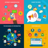 Set di icone di concetto di rete sociale