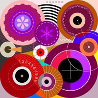 Wheels abstract art vector illustration
