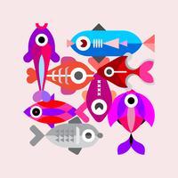 Ilustração em vetor peixe exótico