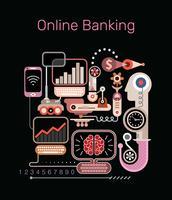 Ilustração em vetor de banco on-line