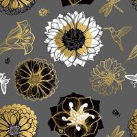 Seamless pattern flowers, butterflies, hummingbirds, dark background.