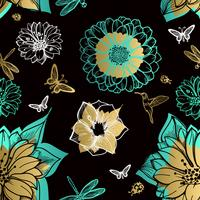 Seamless pattern flowers, butterflies, hummingbirds, black background.