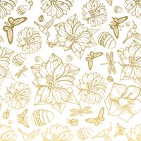 Seamless pattern flowers, egg, butterflies, hummingbirds, gold background.
