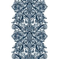 Abstract seamless Arabic lace pattern with flowers and butterflies.