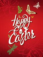 Happy Easter sign, symbol, logo on a red background.