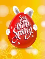 Yellow spring background with ester egg.