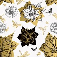 Seamless pattern flowers, butterflies, hummingbirds, white background.
