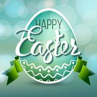 Uovo di Pasqua felice con le luci del bokeh e le lettere del nastro, simbolo di festa