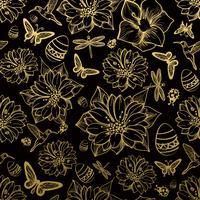 Seamless pattern flowers, butterflies, hummingbirds, gold background.