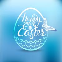 Happy Easter egg with the holiday symbol on a blue background.