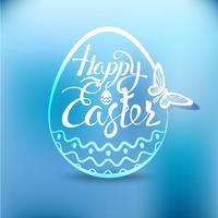Glückliches Osterei mit dem Feiertagssymbol auf einem blauen Hintergrund.