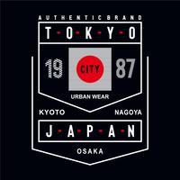 ciudad de Japón ropa urbana tipografía tipografía diseño camiseta