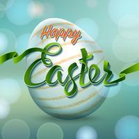 Uovo di Pasqua felice con le luci del bokeh e le lettere del nastro, simbolo di festa.